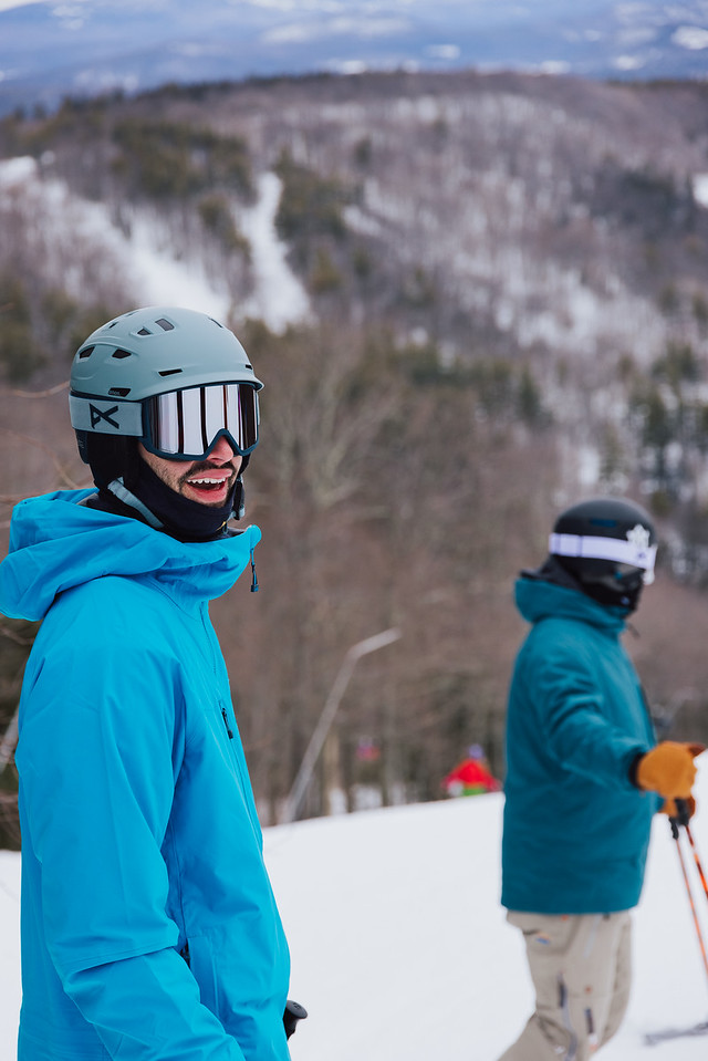 what to wear skiing helmets with brim